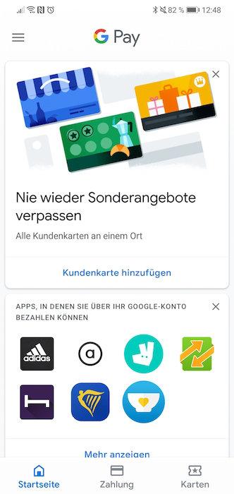 Google Pay Hauptmenu