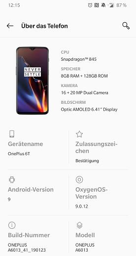 OnePlus 6T Infos